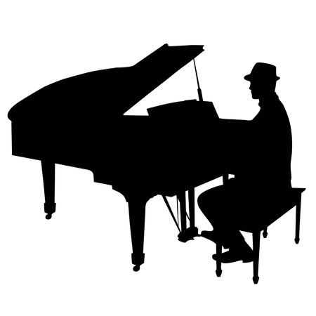 A black silhouette of a man sitting at a grand piano. He is wearing a hat like a jazz musician