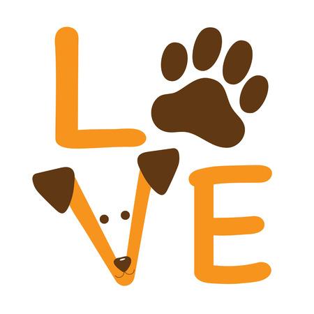 Un gráfico de la palabra amor que muestra una pata de perro y la cara de un perro