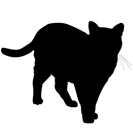 A black silhouette of a cat Vectores