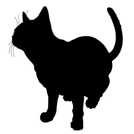 black silhouette: A black silhouette of a cat Illustration