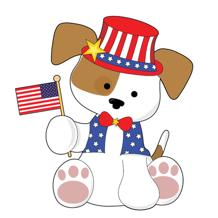 sam: An adorable puppy wearing a top hat and holding the American flag. He is all ready for the Fourth of July