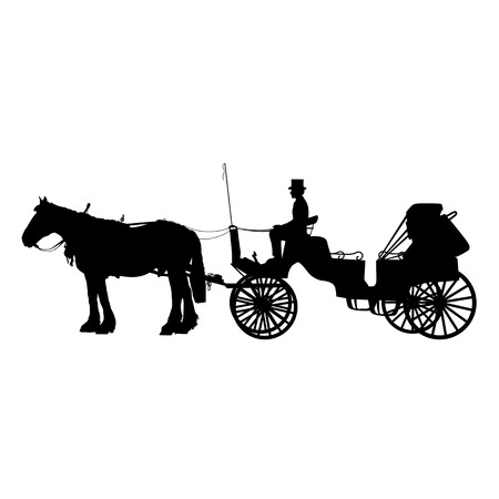 horse drawn carriage: A black silhouette of a horse and buggy or carriage