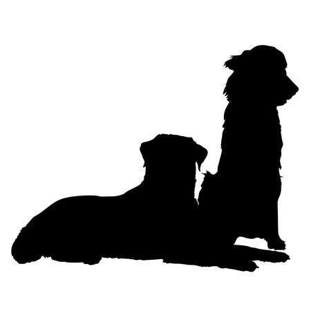 A silhouette of a pair of dogs. One is lying down and the other is sitting