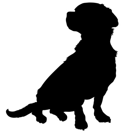 profile silhouette: A black silhouette of a sitting mixed breed dog