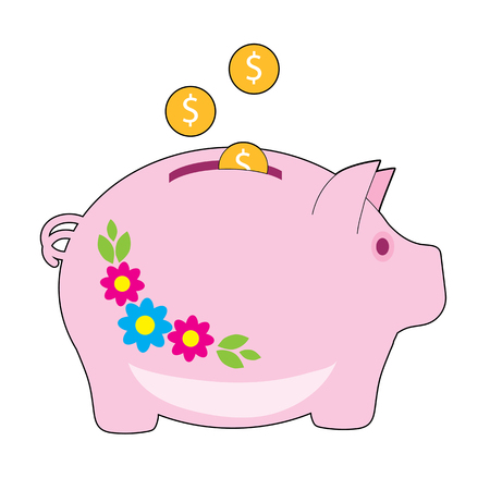 A pink piggy bank with flowers on it. Coins are being added to it