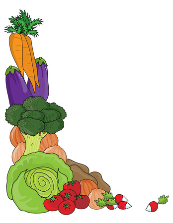 A grouping of vegetables as a frame or border Vectores