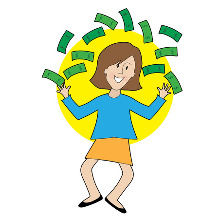 A very happy lady is jumping and throwing money in the air