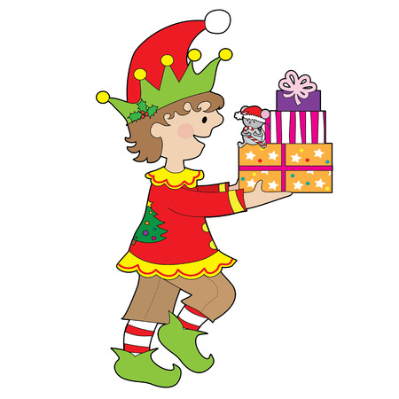 A little male elf is carrying a stack of presents that has a little mouse sitting on them Vectores