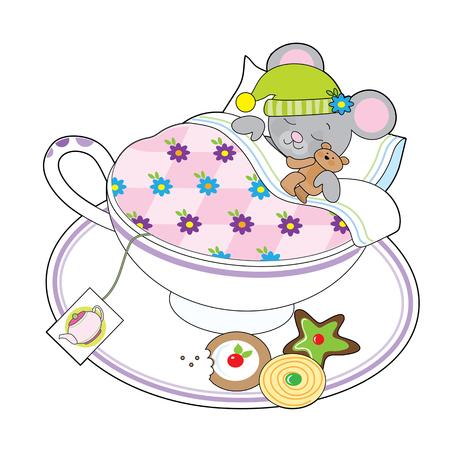 dormouse: A little grey mouse and his teddy bear are asleep in a teacup.