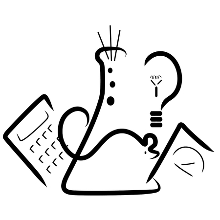 A stylized    with elements for a science fair. A beaker, a mouse,a calculator, a light bulb and a scale