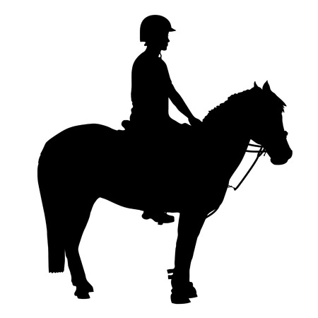 A black silhouette of a pony and rider that participate in mounted games and other equestrian sports Vectores