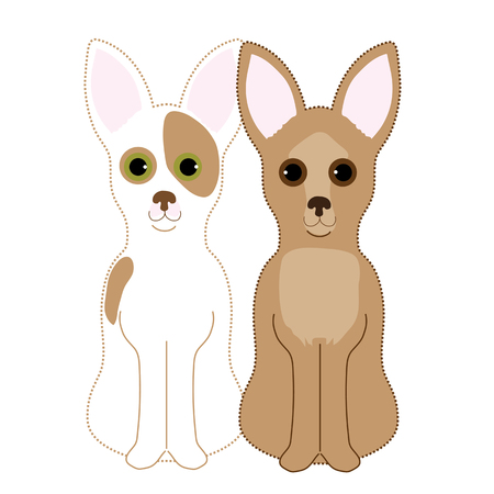 A pair of Chihuahuas sitting next to each other. One is a fawn and the other a red and white