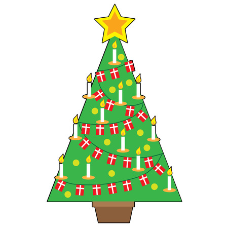 A stylized design of a traditional Danish Christmas tree Vectores