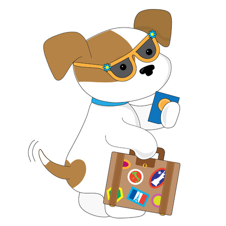mongrel: An adorable spotted puppy is getting ready to travel. She has a suitcase in one hand and a passport in the other Illustration