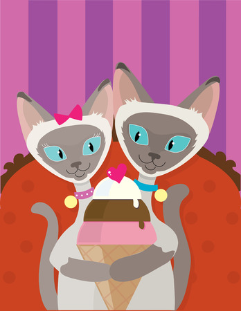 siamese: A pair of Siamese Cats are enjoying an ice cream cone together Illustration