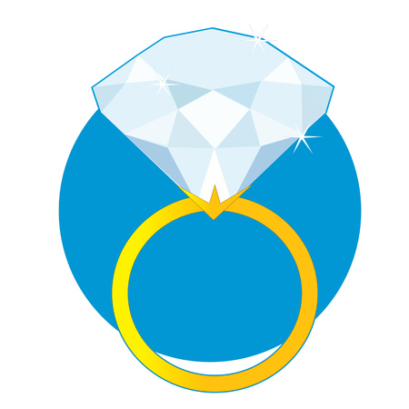 A beautiful sparkling solitaire diamond ring on a golden band on a blue circle background Vectores