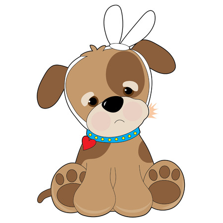 dolor de muelas: Un pequeño perrito manchado marrón tiene un vendaje alrededor de la cabeza, porque tiene un dolor de muelas