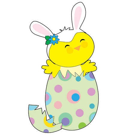 A little chick popping out of a spotted Easter egg wearing a hat with bunny ears Vectores