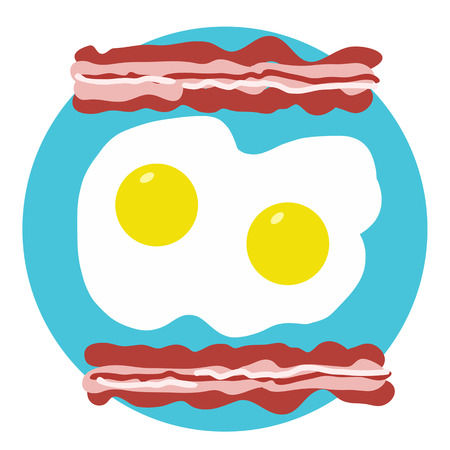 A stylized design of bacon and eggs on a turquoise circle background