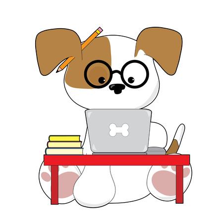 An adorable puupy is sitting at a laptop wearing glasses and has a pencil by his ear