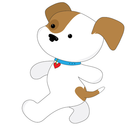 A brown and white cute puppy with a heart on its bum is gong for a walk. She is wearing a collar with a heart on it