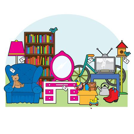 Wyświetlacz artykułów, które są na sprzedaż na sprzedaż garażu Ilustracje wektorowe