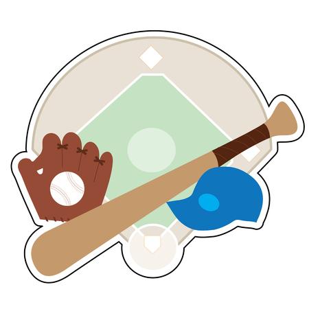 A  baseball diamond,baseball bat,baseball cap and baseball mit on a background featuring a baseball diamond