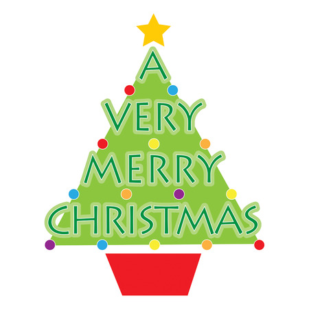 A stylized Christmas tree with the words A Very Merry Christmas on it and some round Christmas ornaments Vectores