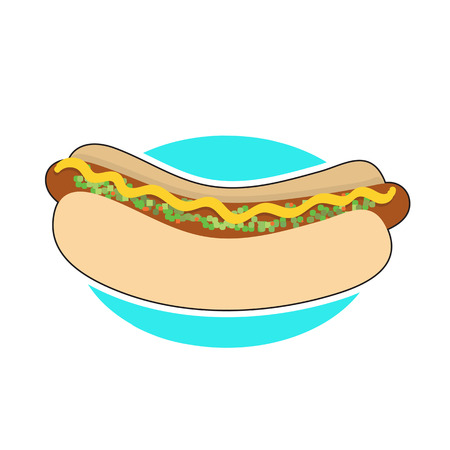 bun: A hot dog in a bun with mustrad and relish