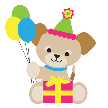 A cute little brown puppy is holding three balloons. He's sitting with a present in front of him and a party hat on his head