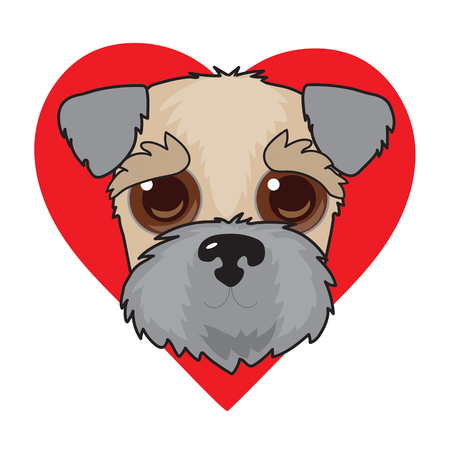 A cute illustration of a Wheaten Terrier face with a red heart in the background Vectores