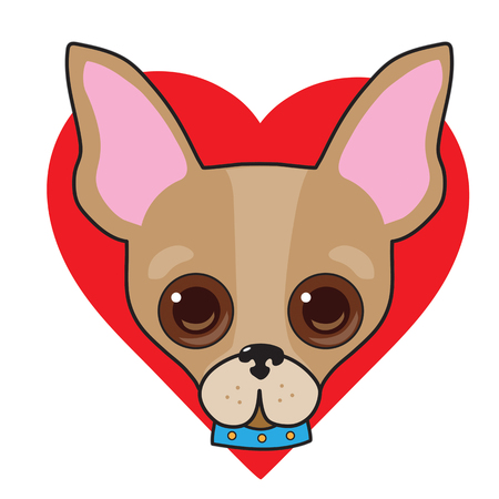 A cute illustration of a Chihuahua face with a red heart in the background