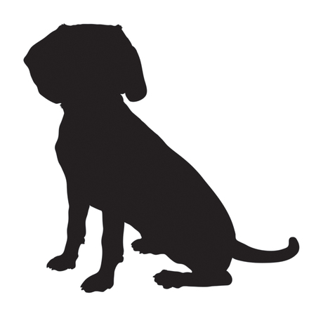 A black silhouette of a sitting Beagle puppy Ilustrace