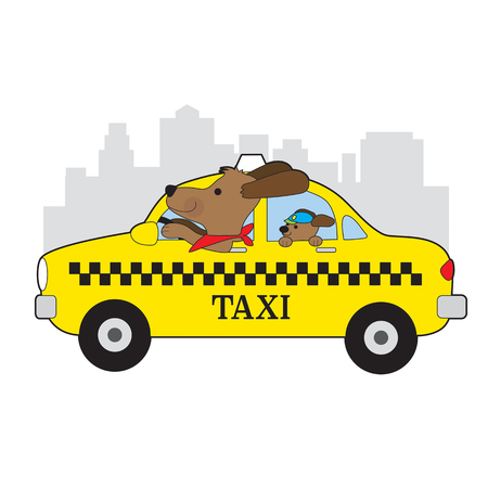 A dog is driving a taxi in New York. His child is riding in the back seat Illustration
