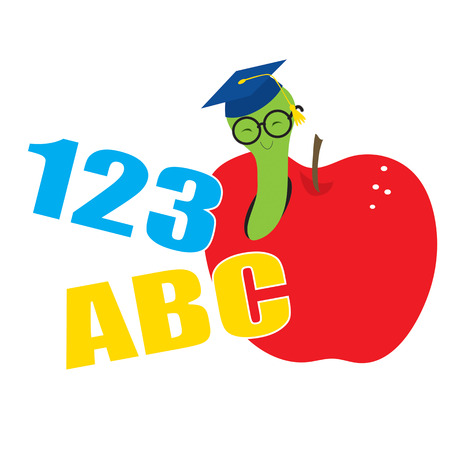A worm wearing a mortar board and glasses is peeking out of an apple  Numbers and letters are included in the design