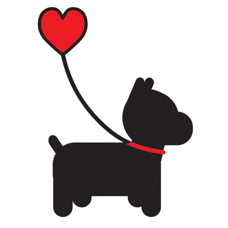 A silhouette of a little black dog on a leash that has a heart for a handle Vectores