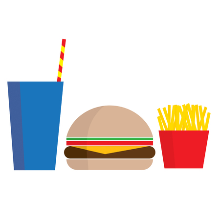 A stylized graphic of a drink hamburger and fries