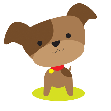 An adorable little brown puppy with a red collar Vectores
