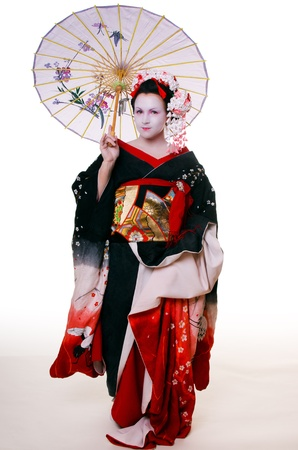 geisha with umbrella photo