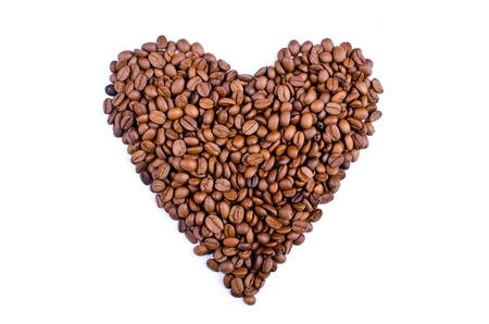 predilection: coffee heartshape of the heart of the coffee beans on white background Stock Photo