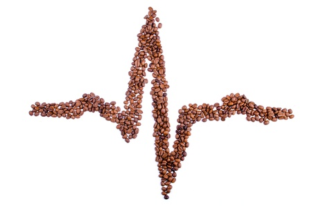 predilection: line is the pulse of the coffee beans on white background