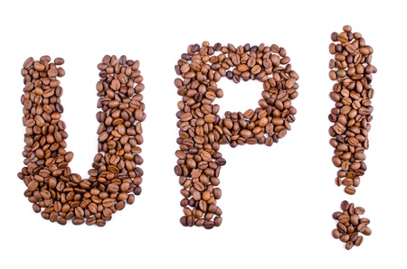 predilection: word of the UP of the coffee beans on white background