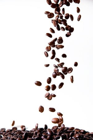 beverage in bean: tasty coffee beans dropping down