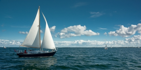 yachting: sailing boat on the sea