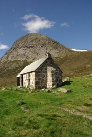 refuge: refuge Corrour Bothy at the Cairn Gorm Mountains at Scotland in summer