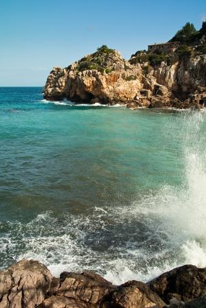 mediteranean: idyllic bay with splashing water Stock Photo