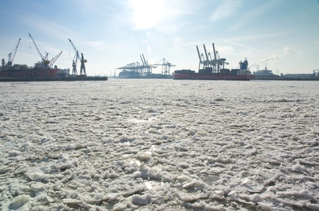 Winter at Hamburg and ice on river Elbe