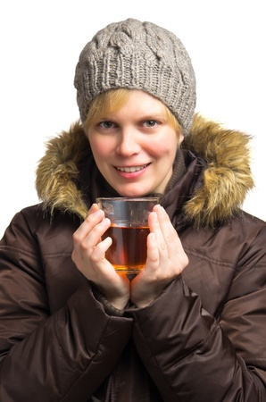 woman with drink in wintertime photo