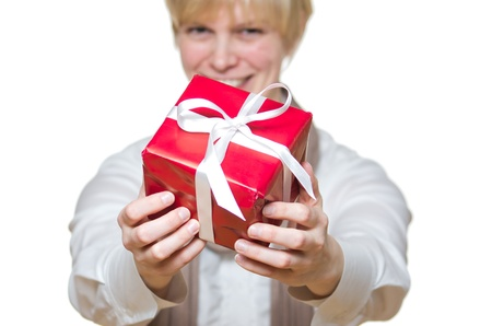 fortunate: woman gives gift