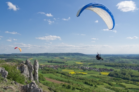 close view on a paraglider